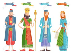 Jewish festival of Purim. Book of Esther characters and heroes: Achashveirosh, Mordechai, Esther, Haman. Vector illustration