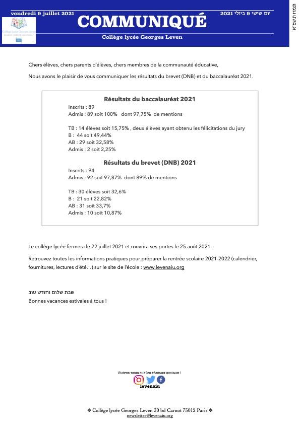 communique resultats dnb bac 09072021